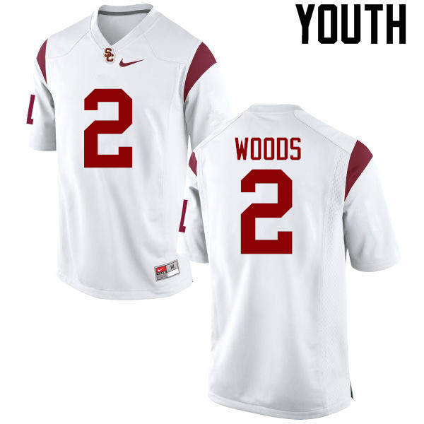 Youth #2 Robert Woods USC Trojans College Football Jerseys-White